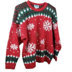 Vintage Red Mervyn's Christmas Snowflake Sweater L